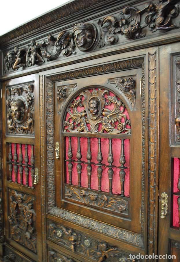 Antigüedades: DESPACHO ANTIGUO TALLADO ESTILO RENACIMIENTO ESPAÑOL - Foto 12 - 159104714