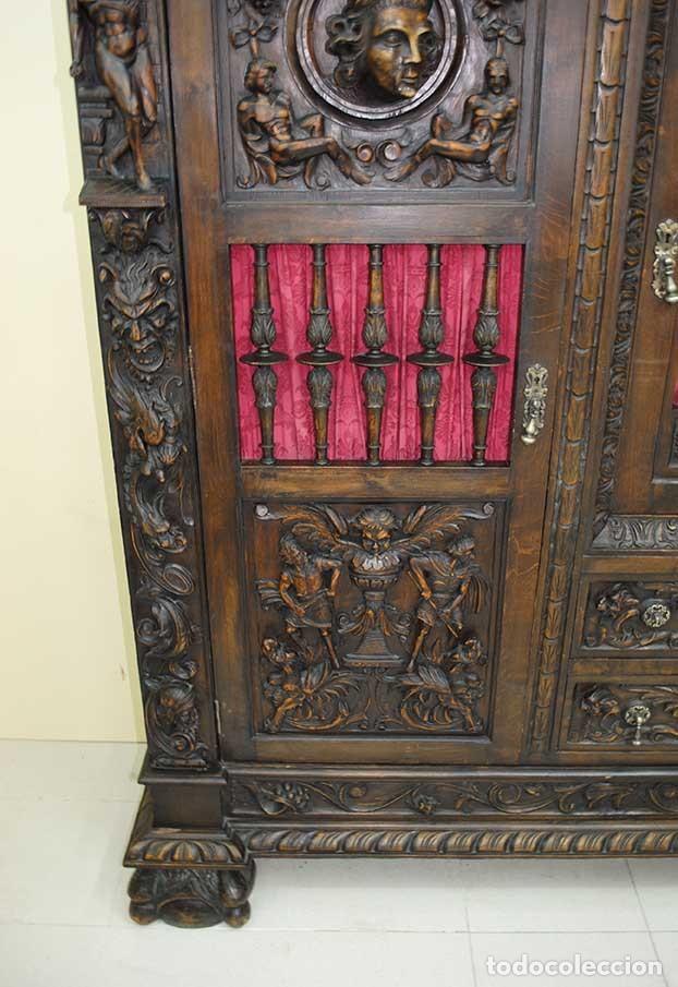 Antigüedades: DESPACHO ANTIGUO TALLADO ESTILO RENACIMIENTO ESPAÑOL - Foto 13 - 159104714