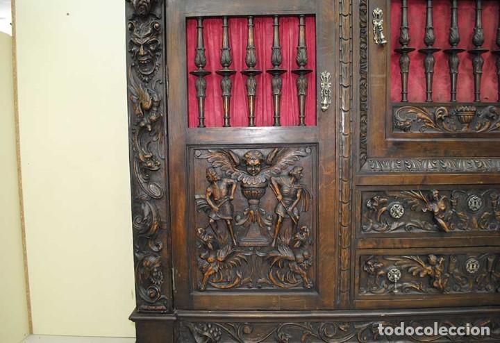 Antigüedades: DESPACHO ANTIGUO TALLADO ESTILO RENACIMIENTO ESPAÑOL - Foto 14 - 159104714