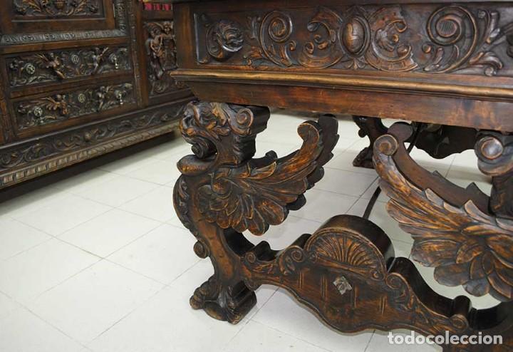 Antigüedades: DESPACHO ANTIGUO TALLADO ESTILO RENACIMIENTO ESPAÑOL - Foto 24 - 159104714