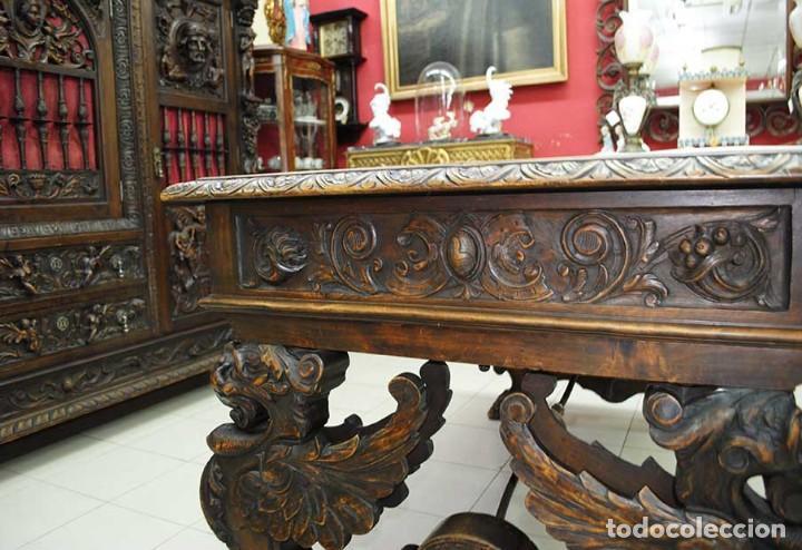 Antigüedades: DESPACHO ANTIGUO TALLADO ESTILO RENACIMIENTO ESPAÑOL - Foto 25 - 159104714