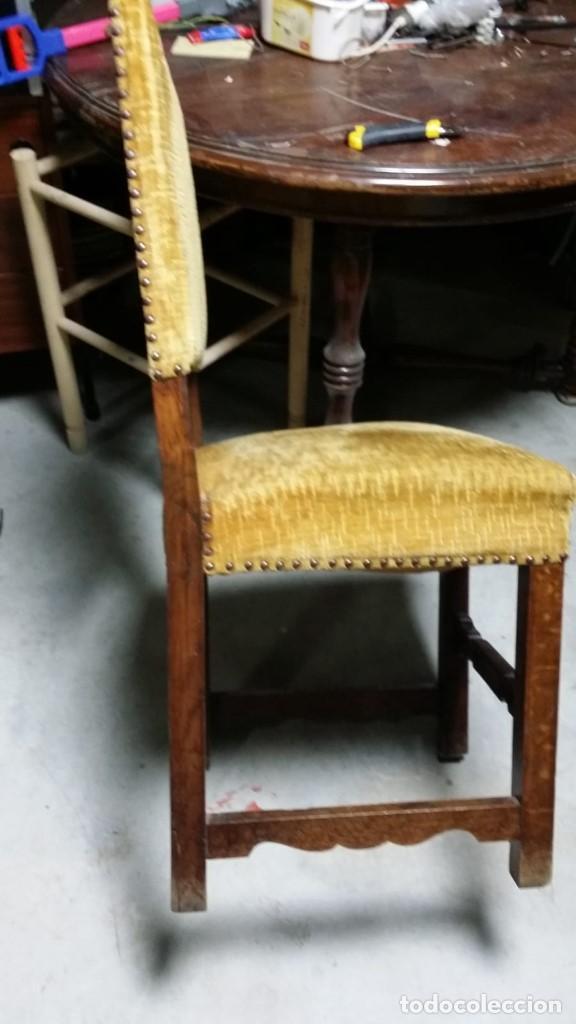 Antigüedades: 6 preciosas sillas del siglo pasado talladas y tapizado original - Foto 2 - 159105034