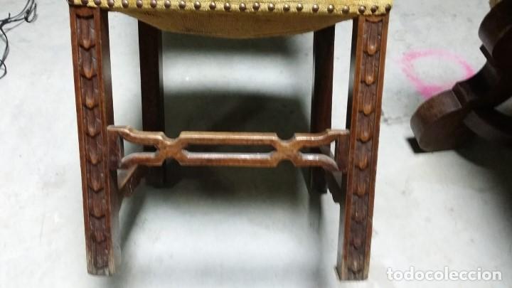 Antigüedades: 6 preciosas sillas del siglo pasado talladas y tapizado original - Foto 3 - 159105034