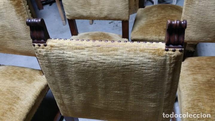 Antigüedades: 6 preciosas sillas del siglo pasado talladas y tapizado original - Foto 4 - 159105034