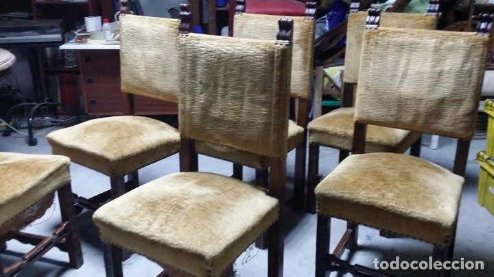 Antigüedades: 6 preciosas sillas del siglo pasado talladas y tapizado original - Foto 5 - 159105034