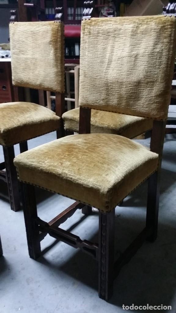 Antigüedades: 6 preciosas sillas del siglo pasado talladas y tapizado original - Foto 6 - 159105034