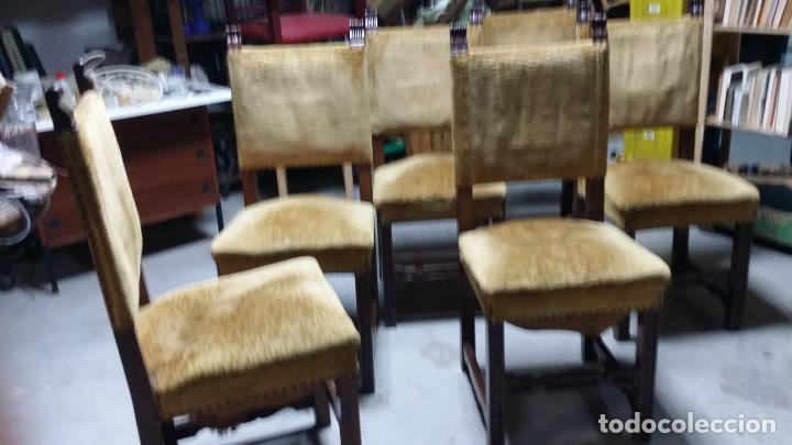 Antigüedades: 6 preciosas sillas del siglo pasado talladas y tapizado original - Foto 9 - 159105034