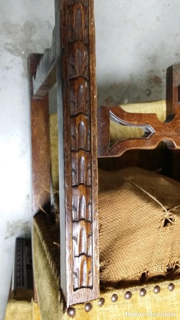 Antigüedades: 6 preciosas sillas del siglo pasado talladas y tapizado original - Foto 10 - 159105034