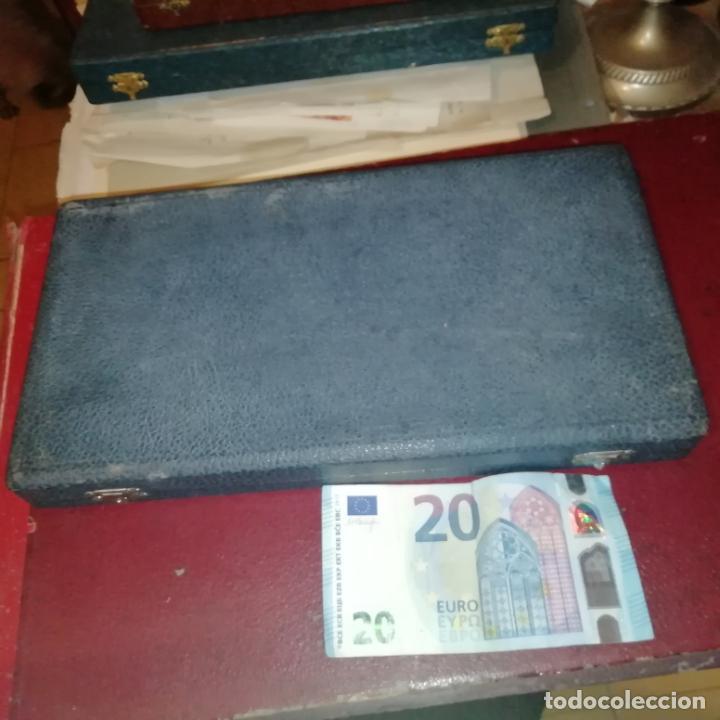 Antigüedades: Pareja de cubiertos de repostería. Plata contrastada. En caja original - Foto 5 - 159127422