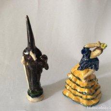 Antigüedades: ANTIGUAS FIGURAS EN TERRACOTA VIDRIADA ,POSIBLEMENTE TRIANA. Lote 159132798