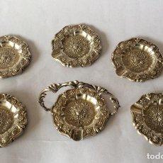 Antigüedades: PLATA DE EY ,CONJUNTO DE PEQUEÑO CENICEROS CON SU SOPORTE EN PLATA DE LEY. Lote 159135926