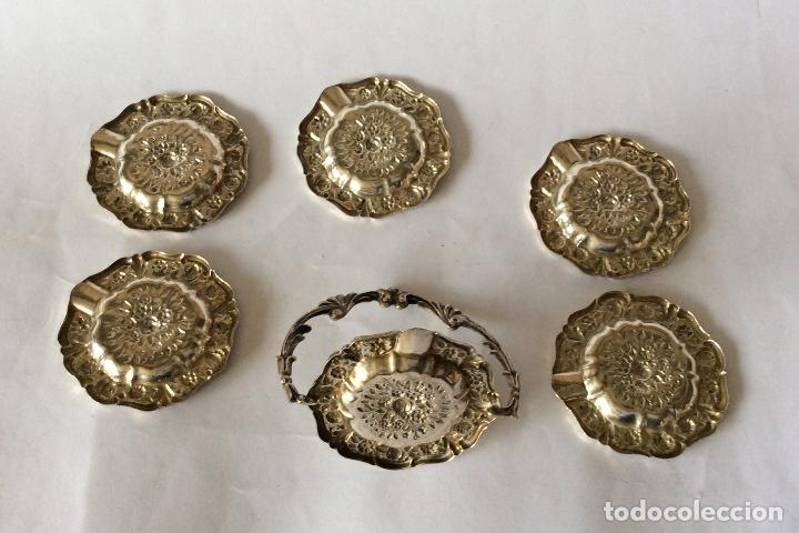 Antigüedades: PLATA DE EY ,CONJUNTO DE PEQUEÑO CENICEROS CON SU SOPORTE EN PLATA DE LEY - Foto 2 - 159135926