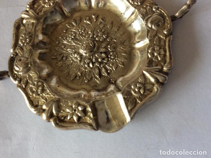 Antigüedades: PLATA DE EY ,CONJUNTO DE PEQUEÑO CENICEROS CON SU SOPORTE EN PLATA DE LEY - Foto 3 - 159135926