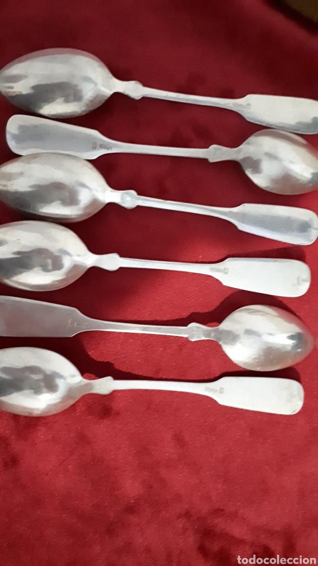 Antigüedades: Juego de 12 cucharas de plata antigua 800 milisemas - Foto 4 - 159155425
