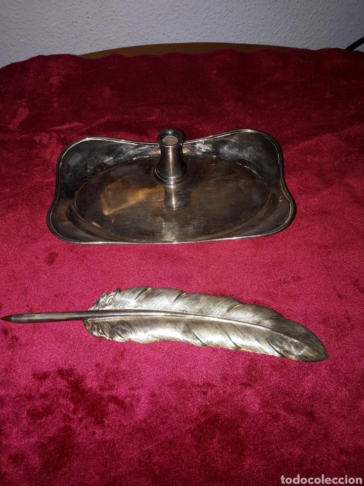 ESCRIBANIA PLUMA DE PLATA DE LEY PEDRO DURÁN (Antigüedades - Platería - Plata de Ley Antigua)