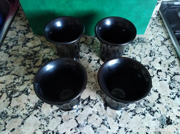 Antigüedades: Lote 4 vasos de cerámica Artesanal esmaltados en negro de meridiano alfarero de vila real - Foto 2 - 159231042