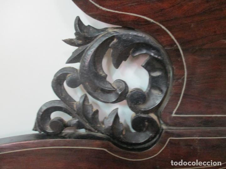 Antigüedades: Antigua Cama Isabelina - Madera Jacarandá, Marquetería de Zinc - Patas de Cuello de Cisne - S. XIX - Foto 18 - 159235810