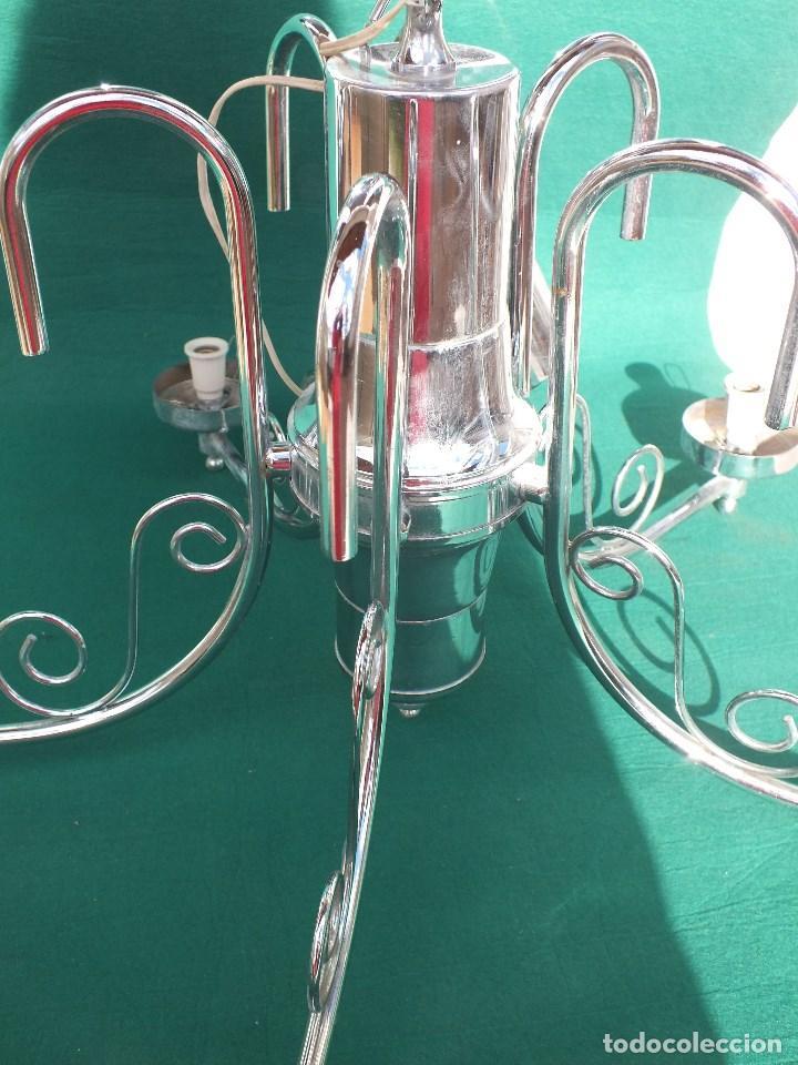 Antigüedades: LAMPARA CROMADA SIN TULIPAS - Foto 5 - 159254794