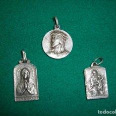 Antigüedades: LOTE DE 3 MEDALLAS RELIGIOSAS , PLATA. Lote 159287782