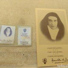 Antigüedades: RELIQUIA Y ESTAMPA MADRE MARAVILLAS DE JESÚS. Lote 159295266
