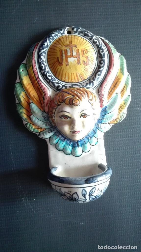 BENDITERA CERAMICA (Antigüedades - Religiosas - Benditeras)