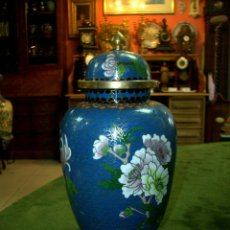 Antigüedades: JARRON TIPO TIBOR, METAL ESMALTADO. Lote 159350386