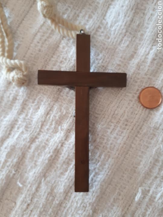 Antigüedades: Cruz crucifijo madera metal plateada cordón - Foto 3 - 159372478