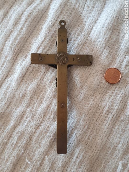 Antigüedades: Cruz crucifijo madera metal dorado calavera - Foto 4 - 159373678