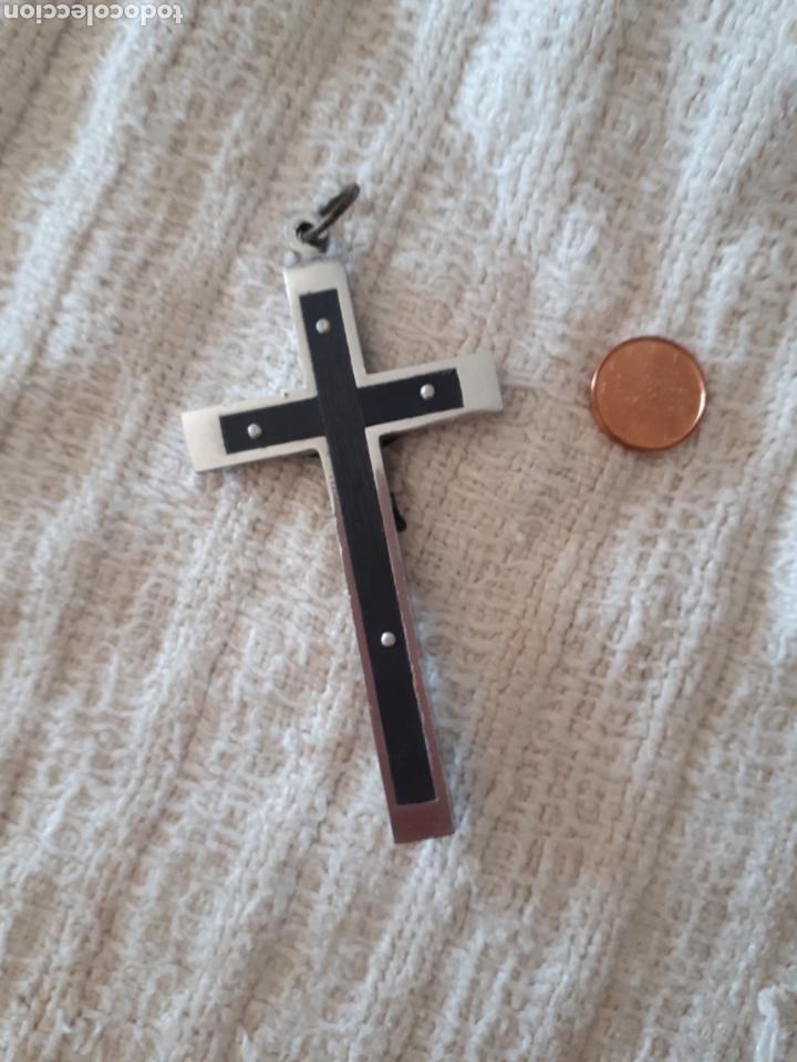 Antigüedades: Cruz crucifijo madera metal plateado ribeteada - Foto 3 - 159373934