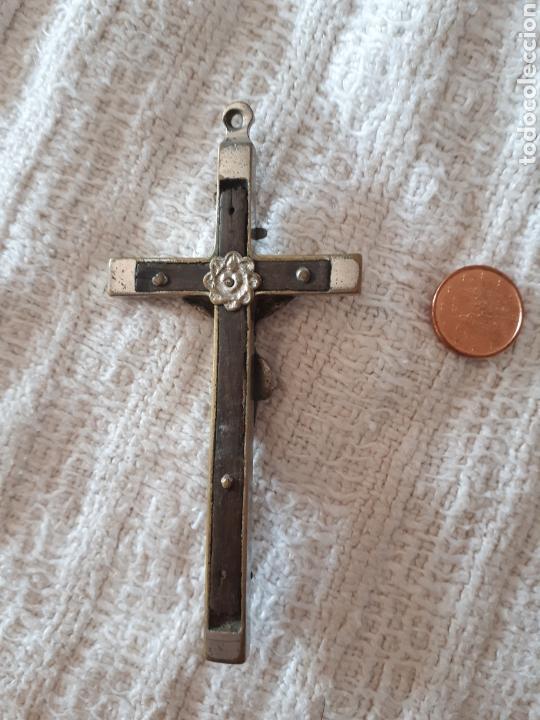 Antigüedades: Cruz crucifijo madera metal plateado calavera - Foto 3 - 159377154