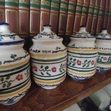 Antigüedades: LOTE 4 ANTIGUOS ESPECIEROS EN LOZA CERAMICA SEVILLANA PINTADOS A MANO. Lote 206858587