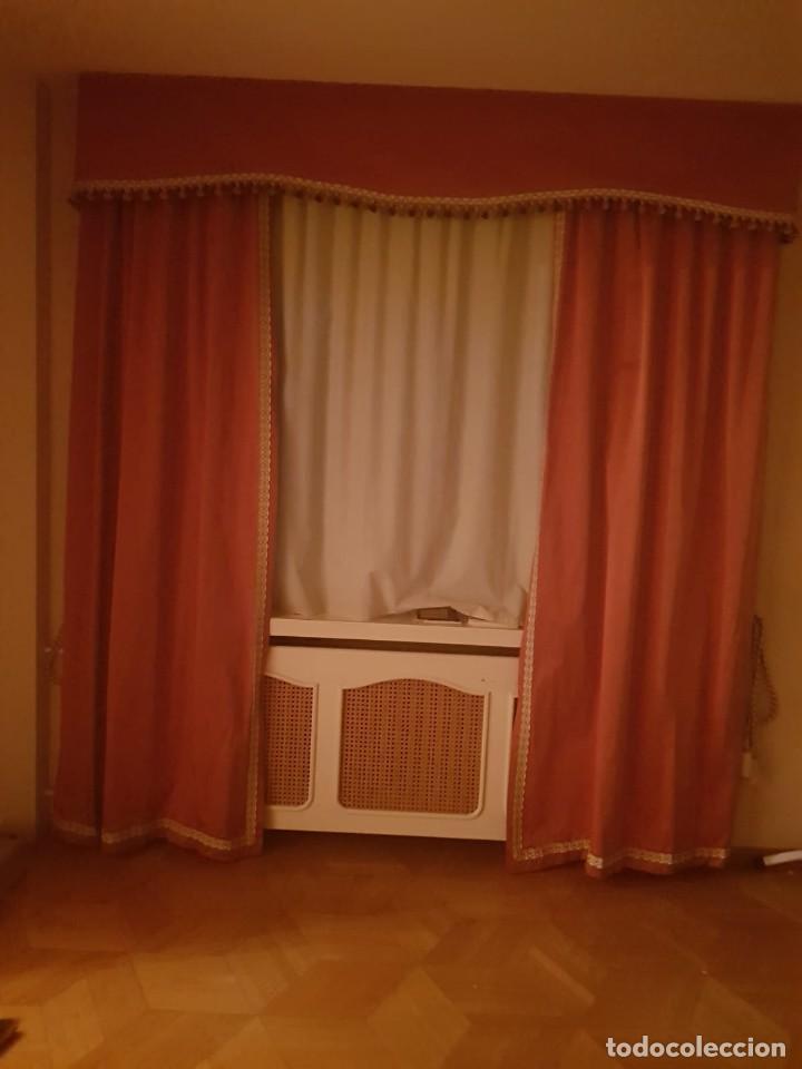 Antigüedades: Precioso conjunto de 5 cortinas antiguas, color rosa y blanco con faldon. - Foto 3 - 159427014