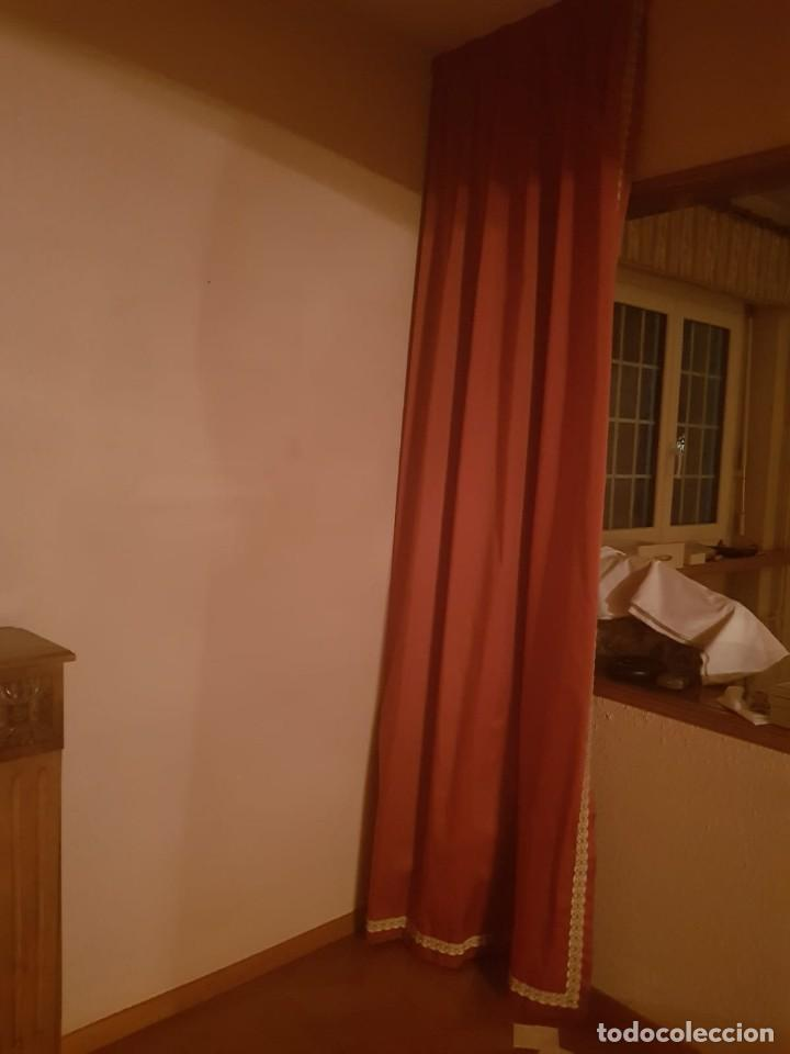 Antigüedades: Precioso conjunto de 5 cortinas antiguas, color rosa y blanco con faldon. - Foto 7 - 159427014