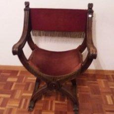 Antigüedades: SILLA JAMUGA DE NOGAL DE ESTILO RENACIMIENTO.. Lote 159435926
