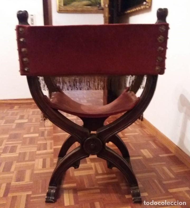 Antigüedades: Silla Jamuga de nogal de estilo Renacimiento. - Foto 3 - 159435926