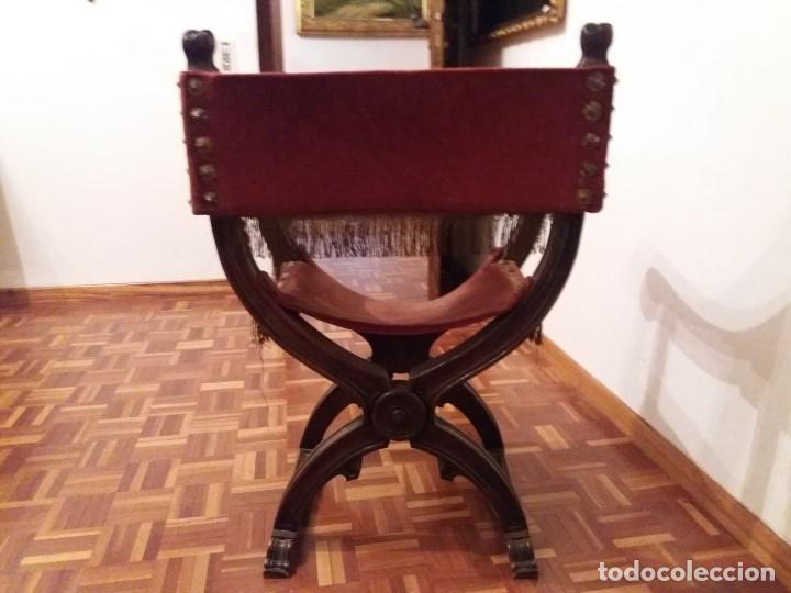 Antigüedades: Silla Jamuga de nogal de estilo Renacimiento. - Foto 4 - 159435926