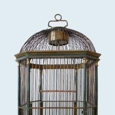 Antigüedades: JAULA PAJARERA DORADA FRANCESA ART NOUVEAU S.XIX FRENCH GILT METAL BIRD CAGE A OISEAUX LAITON BRONZE. Lote 159442050