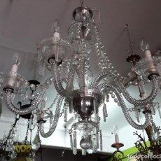 Antigüedades: LAMPARA DE CRISTAL 6 PUNTOS DE LUZ. Lote 159446170