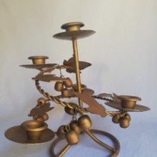 Antigüedades: CANDELABRO DECORATIVO EN METAL DORADO ESTILO VEGETAL. Lote 159473341