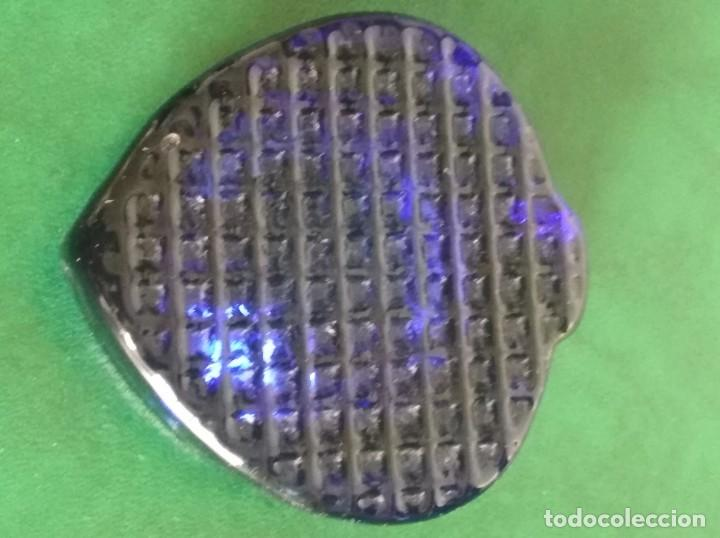 Antigüedades: Cenicero en cristal azul macizo tallado - Foto 2 - 159490058