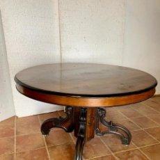 Antigüedades: MESA DE COMEDOR REDONDA DE NOGAL. Lote 159500318