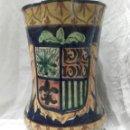 Antigüedades: ENORME JARRA DE CERÁMICA CON ESCUDO. Lote 159550209