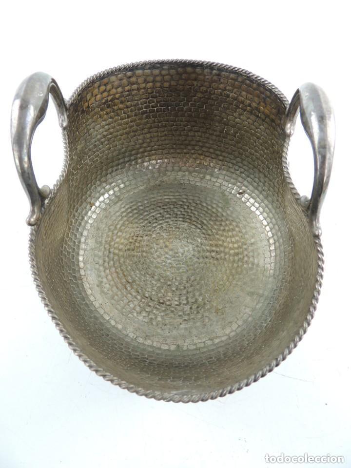 Antigüedades: ANTIGUO CESTO DE ALPACA PLATEADA - Foto 5 - 159571750