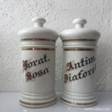 Antiquités: ALBARELOS DE FARMACIA ISABELINOS. 28CM. PORCELANA PINTADA A MANO. SIGLO XIX. Lote 159579986