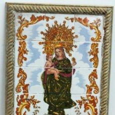Antigüedades: CUADRO DE AZULEJOS DE LA VIRGEN DE LA CINTA. PINTADO A MANO. Lote 159592930