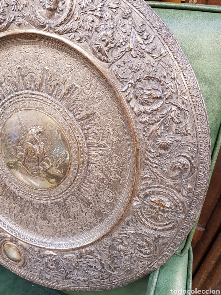 Antigüedades: ANTIGUA BANDEJA BAÑADA EN PLATA ESTILO MODERNISTA MOTIVOS MITOLOGICOS Y VEGETALES ¿ PEDRO DURAN ? - Foto 8 - 159613705