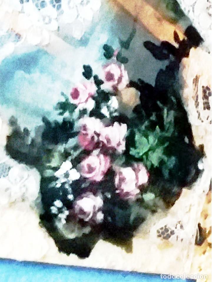 Antigüedades: Abanico de Carmen Monreal,pais encaje,pintado a mano a gouache y varillaje de marfil tallado.Firmado - Foto 2 - 159636302