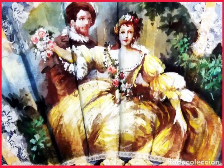 Antigüedades: Abanico de Carmen Monreal,pais encaje,pintado a mano a gouache y varillaje de marfil tallado.Firmado - Foto 3 - 159636302