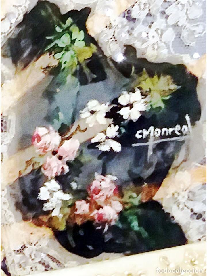 Antigüedades: Abanico de Carmen Monreal,pais encaje,pintado a mano a gouache y varillaje de marfil tallado.Firmado - Foto 4 - 159636302