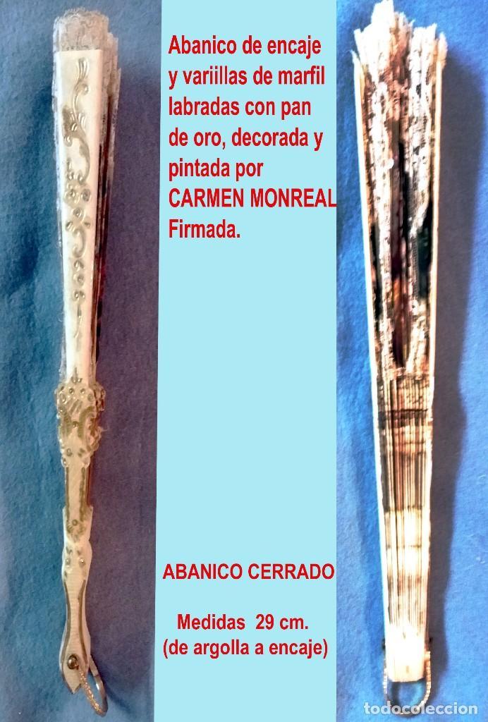 Antigüedades: Abanico de Carmen Monreal,pais encaje,pintado a mano a gouache y varillaje de marfil tallado.Firmado - Foto 8 - 159636302